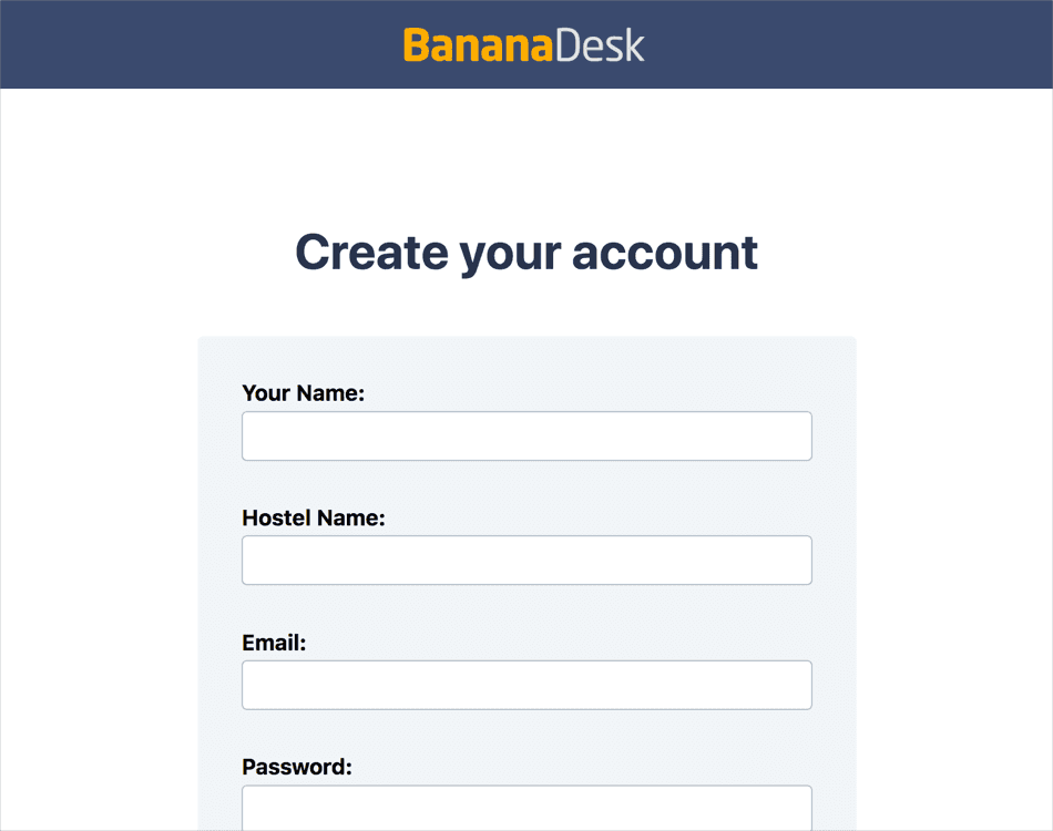 Create your BananaDesk account.